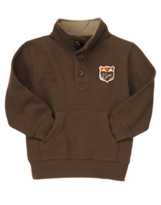 Boys Chocolate Brown Wilderness Patch Fleece Pullover by Gymboree