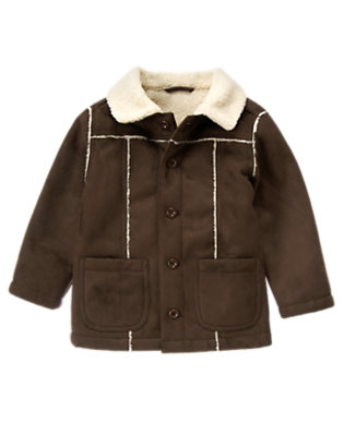 Boys Chocolate Brown Faux Shearling Jacket by Gymboree