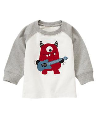 Toddler Boys Ivory Guitar Monster Raglan Tee by Gymboree