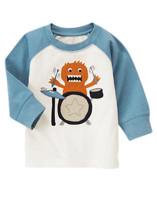 Toddler Boys Ivory Drum Monster Raglan Tee by Gymboree
