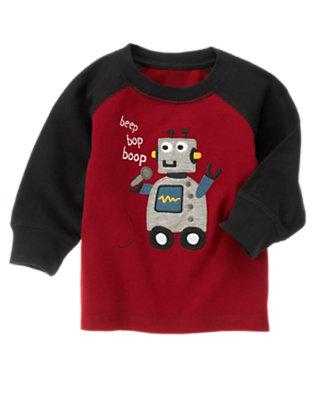 Toddler Boys Flag Red Robot Raglan Tee by Gymboree