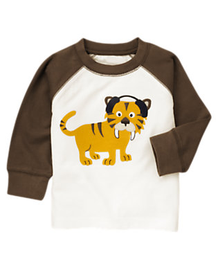 Toddler Boys Ivory Saber-Toothed Tiger Tee by Gymboree