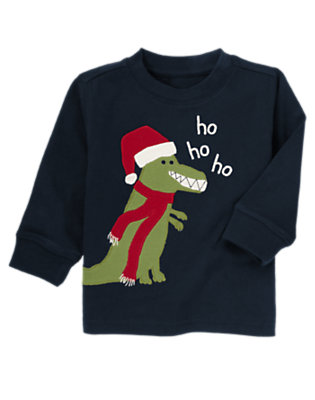 Toddler Boys Gym Navy Holiday Dino Tee by Gymboree