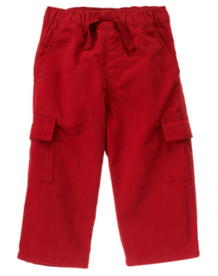 Toddler Boys Holiday Red Lined Cargo Active Pant by Gymboree
