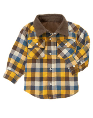 Toddler Boys Goldenrod Yellow Plaid Plaid Flannel Shacket by Gymboree