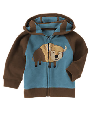 Toddler Boys Slate Blue Bison Hoodie by Gymboree