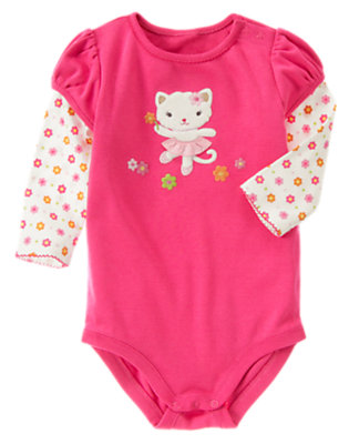 Bright Pink Kitty Double Sleeve Bodysuit by Gymboree