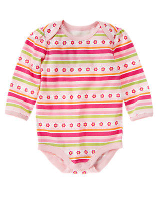 Baby Bright Pink Stripe Flower Stripe Bodysuit by Gymboree