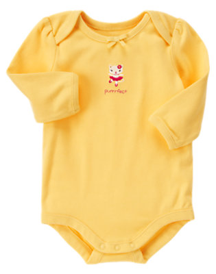 Baby Yellow Purrfect Kitty Bodysuit by Gymboree