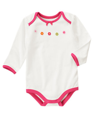 Baby Ivory Flower Bodysuit by Gymboree