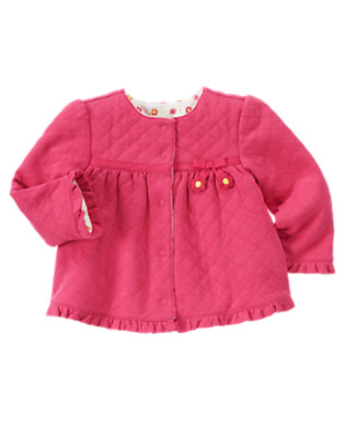 Baby Bright Pink Flower Quilted Reversible Cardigan by Gymboree