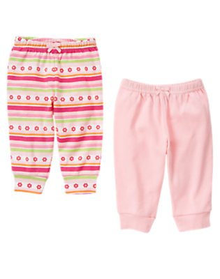 Bright Pink Stripe/Light Pink Cuffed Knit Pant Two-Pack by Gymboree