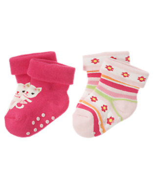 Bright Pink/Bright Pink Stripe Kitty Sock Two-Pack by Gymboree