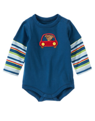 Dark Blue Dog & Car Double Sleeve Bodysuit by Gymboree