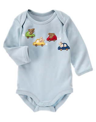 Light Blue Dogs & Cars Bodysuit by Gymboree