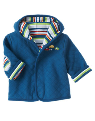 Baby Dark Blue Car Quilted Reversible Hoodie by Gymboree