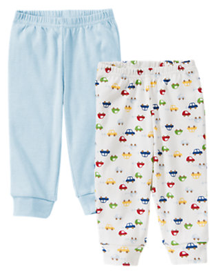 Light Blue Dogs and Cars Cuffed Knit Pant Two-Pack by Gymboree