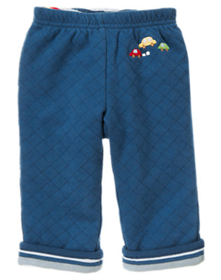 Dark Blue Car Quilted Reversible Pant by Gymboree