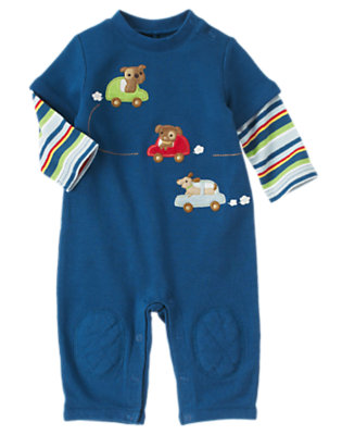 Dark Blue Dogs & Cars One-Piece by Gymboree