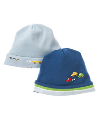Baby Light Blue/Dark Blue Dogs & Cars Beanie Two-Pack by Gymboree