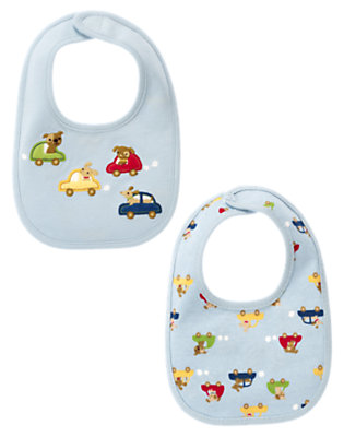 Light Blue/Dark Blue Stripe Dogs & Cars Bib Two-Pack by Gymboree