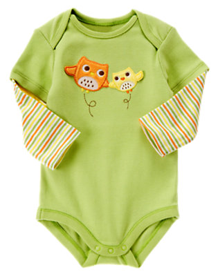 Baby Green Owl Double Sleeve Bodysuit by Gymboree