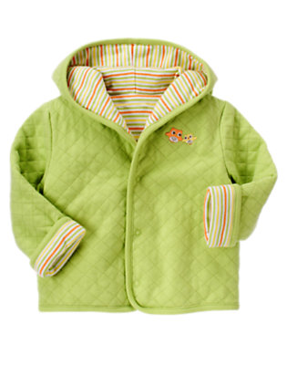 Baby Green Owl Quilted Reversible Hoodie by Gymboree