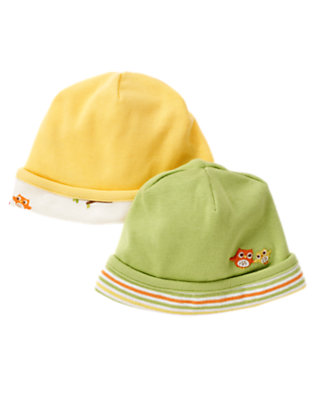 Yellow/Green Owl Beanie Two-Pack by Gymboree