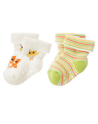 Baby Ivory/Green Stripe Owl Sock Two-Pack by Gymboree