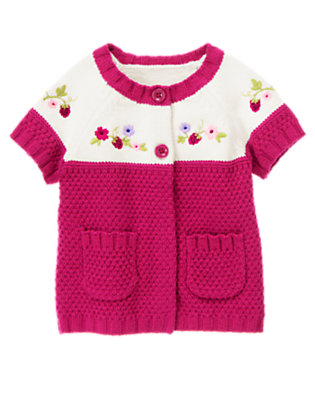 Bright Raspberry Pink Embroidered Raspberry Sweater Cardigan by Gymboree