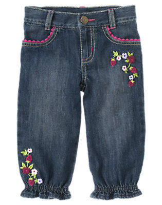 Denim Raspberry Embroidered Ruffle Cuff Jean by Gymboree