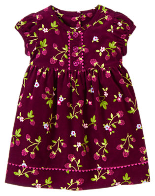 Toddler Girls Dark Plum Berry Raspberry Print Corduroy Dress by Gymboree