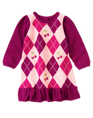 Sweet Pink Argyle Embroidered Raspberry Argyle Sweater Dress by Gymboree