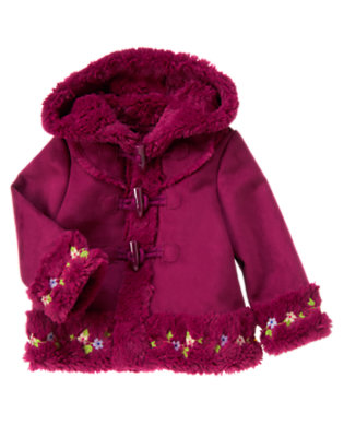 Plum Embroidered Faux Shearling Coat by Gymboree