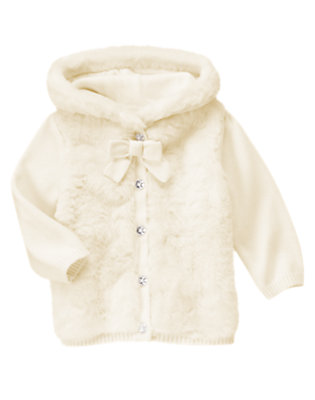 Winter Ivory Faux Fur Hooded Sweater Cardigan by Gymboree
