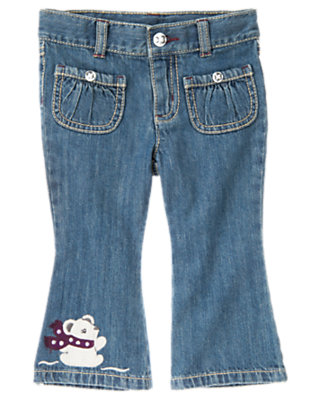 Toddler Girls Denim Polar Bear Jean by Gymboree