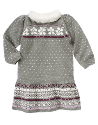 Heather Grey Fair Isle Faux Fur Fair Isle Sweater Dress by Gymboree