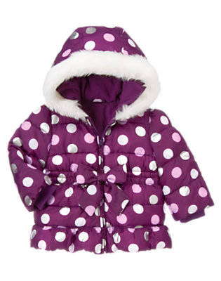 Toddler Girls Princess Purple Dot Dot Hooded Puffer Jacket by Gymboree