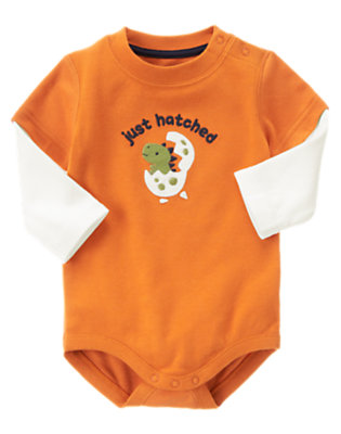 Dusty Orange Just Hatched Bodysuit by Gymboree