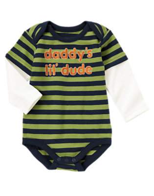 Dino Green Stripe Daddy's Lil' Dude Bodysuit by Gymboree