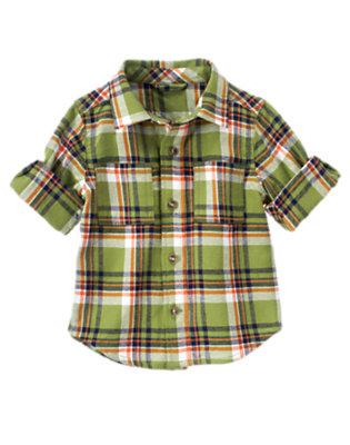 Dino Green Plaid Plaid Flannel Shirt by Gymboree