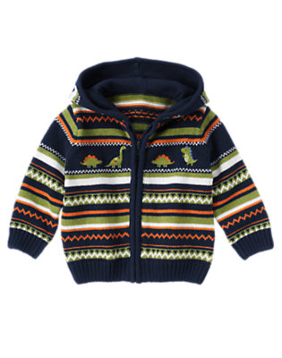 Dino Navy Fair Isle Dino Fair Isle Sweater Hoodie by Gymboree