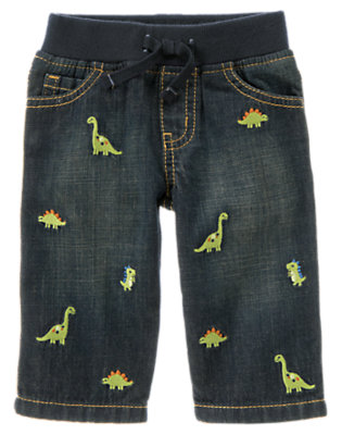 Denim Dino Embroidered Denim Pant by Gymboree