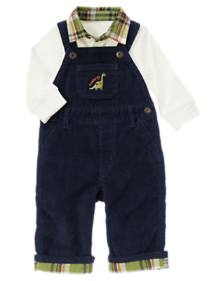 Ivory/Dino Navy Dino Overall Two-Piece Set by Gymboree