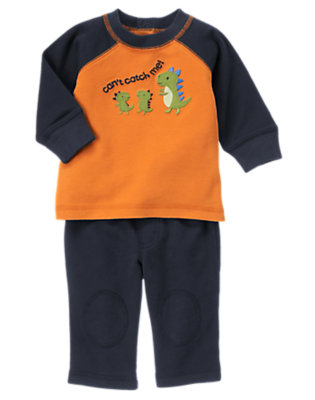Baby Dusty Orange/Dino Navy Dino Two-Piece Set by Gymboree