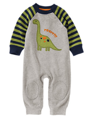 Baby Dark Heather Grey Roar Dino One-Piece by Gymboree