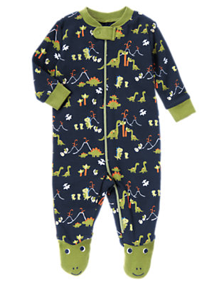 Dino Navy Dino Footed One-Piece by Gymboree