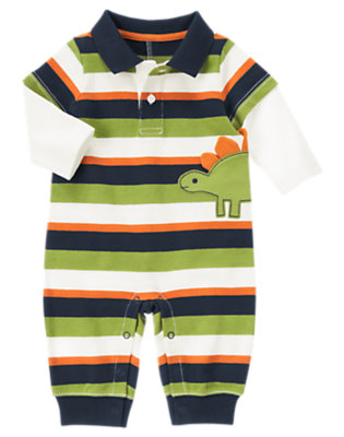 Dino Navy Stripe Dino Double Sleeve Polo One-Piece by Gymboree