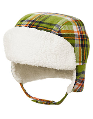 Dino Green Plaid Plaid Earflap Hat by Gymboree