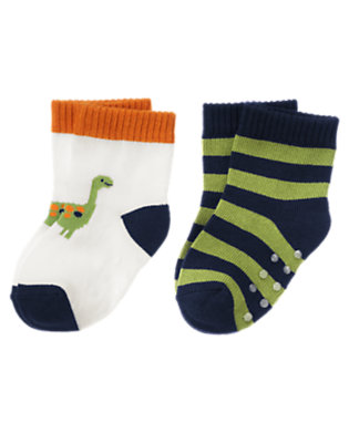 Ivory/Dino Green Stripe Dino Stripe Sock Two-Pack by Gymboree